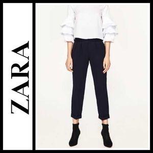 Zara high rise ruffle trousers in navy blue